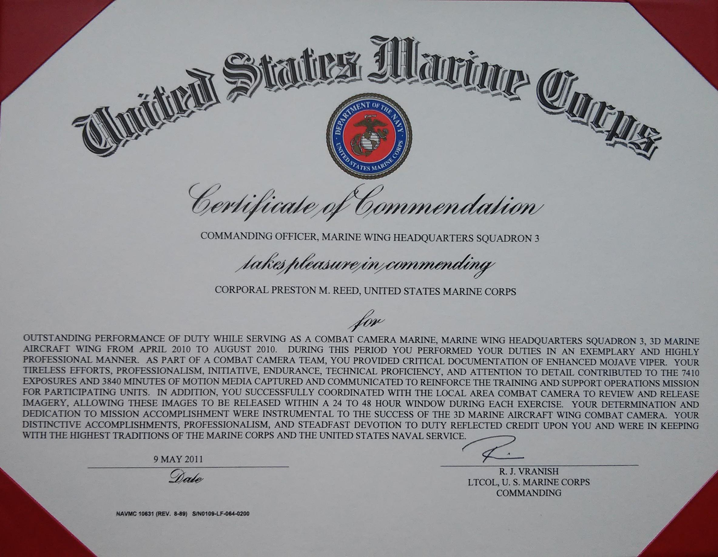 usmc certificate template - Kubre.euforic.co